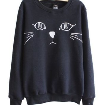 Mooncolour Women Girls Pure Color Cartoon Cat Print Spring Thin Sweatshirt
