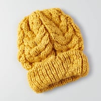 AEO Cable Knit Beanie , Yellow