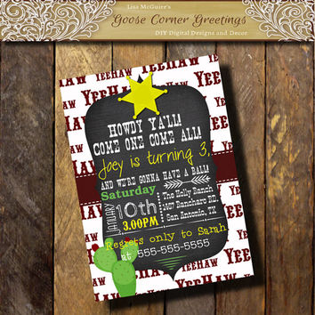 HEE HAW Cowboy Invitation/Howdy Ya'll/Cowgirl invitation/Cactis/Sherrif Star/Any Color/Red Green Yellow/Shower/Baby Sprinkle