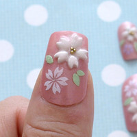 Japanese 3D nails, pink, sakura, cherry blossom, kawaii, flower, fairy kei, sweet lolita, lolita accessory, deco nail, Japanese nail,