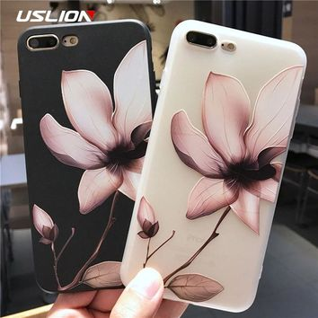 USLION Lotus Flower Case For iPhone 8 Plus XS Max XR 3D Relief Rose Floral Phone Case For iPhone X 7 6 6S Plus 5 SE TPU Cover