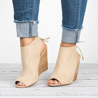 Peep Toe Wedges Bootie - Sand