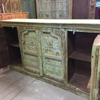SHABBY CHIC Arched Doors Distressed PALE Green Sideboard Antique Old Door Console Rustic Chest Buffet Cabinet Storage BohEMIAN Design