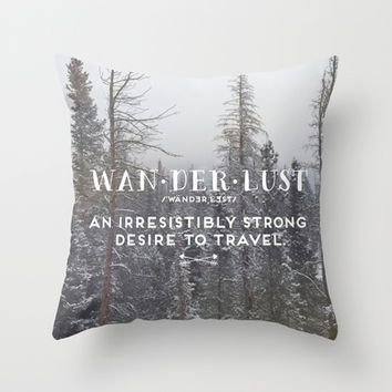 Wanderlust Definition Throw Pillow by EG Design