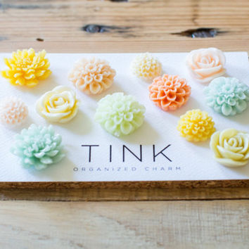 SALE! Decorative Flower Thumbtacks - Set of 12 -  Ibiza: Yellow/Light Blue/Light Green/Coral/Blush