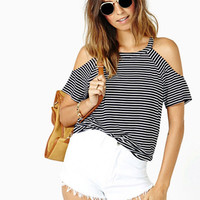 Cold Shoulder Stripe Cotton T Shirt