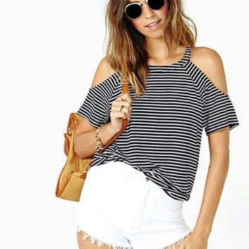 Striped Cutout-Shoulder Top
