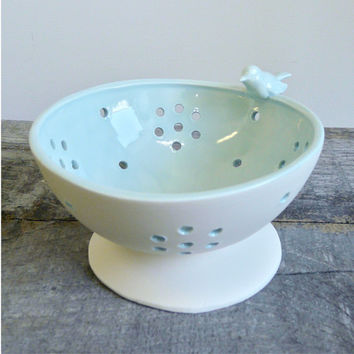 Berry Bowl, Mini Colander with Bird, Porcelain Celadon Glaze