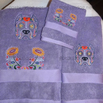 Sugar Skull Day Of The Dead Pit Bull Purple Embroidered Towel Set