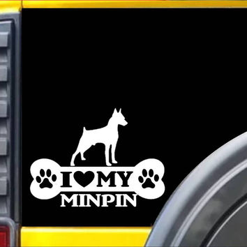Minpin Bone Sticker L103 8 inch Miniature pinscher dog decal