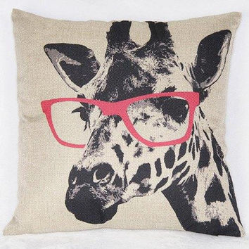 Simple Giraffe Pattern Printed Square Synthesis of Linen Pillow Case