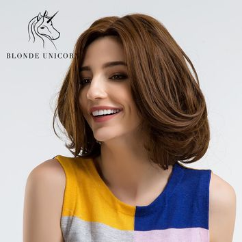 BLONDE UNICORN 10 Inch Short Wavy Heat Resistant Synthetic Wigs With Bangs Side Part Dark Brown  Full Head Capless Wig for Women