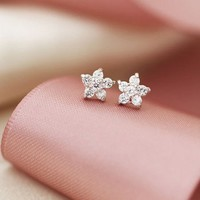 Cherry Blossom White Crystal Studs Earrings. Elegant Bridal Studs