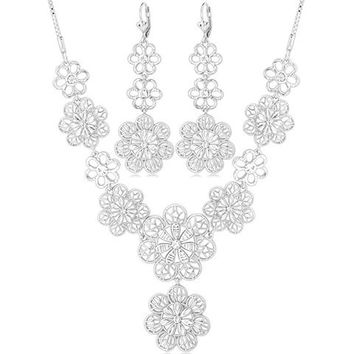 Silver Floral Cut Out Necklace and Earrings
