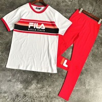 FILA 2018 men and women round neck casual striped couple models short-sleeved trousers two-piece F-CY-MN red