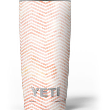 The Pale Orange Watercolored Chevron Pattern Yeti Rambler Skin Kit