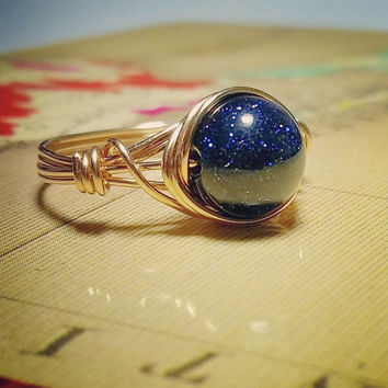 Blue Goldstone Ring, Space Jewelry, Celestial Ring, Gemstone Jewelry