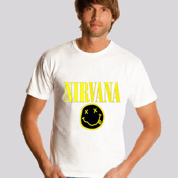 Nirvana   shirt Logo Smiley Face Kurt Cobain  shirt Nirvana Smiley Face  shirt   Print  S-2XL
