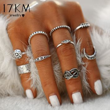 17KM Fashion 9 pcs/Set Silver Color Infinity Midi Ring Sets for Women Boho Beach Vintage Turkish Punk Knuckle Sun Ring Jewelry
