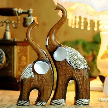 Resin lovers mother-child like wood grain home decoration technology gift a pair of elephant resin animal figurine