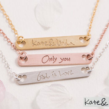 Handwriting Bar Necklace,Name Plate,Handwritten Signature,Drawing - Bride maids Gift, Gift for Her, Gold, Rose Gold, Silver,LUVINMARK.LVMKA5
