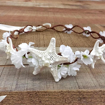 Beach Wedding Crown,Beach Bride,Starfish Crown,Mermaid Accessories,Mermaid Crown,Bridal Crown,Nautical Wedding,Engagement Photos,Starfish