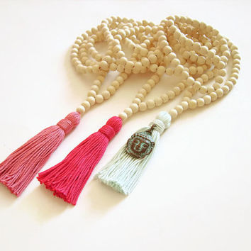 White summer necklace, Hot pink tassel summer colors, Buddha head charm, White necklace, Summer tassel necklace, White wood necklace