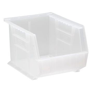 Quantum Plastic Storage Clear-View Ultra Hang and Stack Bin 10-3/4 x 8-1/4 x 7 - Pack of 6