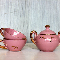 vintage child's tea set // demitasse espresso // hand painted // cups and covered sugar bowl // made in italy