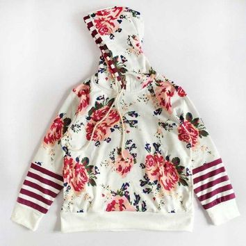 Floral Patchwork Double Hooded Long Sleeve Hoodie sweatshirts for girls 4-12 Years old