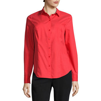 Worthington® Essential Long-Sleeve Button-Front Shirt