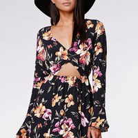 Kendall & Kylie Floral Bell Sleeve Cut-out Dress - Womens Dress - Floral