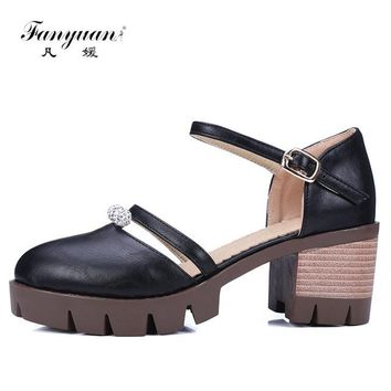 New 2018 Sweet Lolita Shoes Chunky Pumps Crystal Buckle Strap Ladies High Heels Ankle Strap Vintage Round Toe Spring Shoes