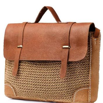 spring new classic messenger bag women hand-woven linen bag real crazy horse leather satchel genuine leather handbag