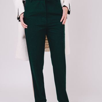 Jungle Green High-Rise Striped Cigarette Trousers
