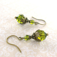 Olivine Swarovski Crystal Earrrings - Antique Brass Earrings - Nature Inspired Victorian Olive Green Tierracast Earrings - Bronze Jewelry