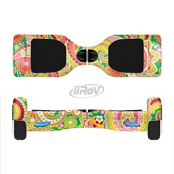 The Vibrant Green and Pink Paisley Pattern Full-Body Skin Set for the Smart Drifting SuperCharged iiRov HoverBoard