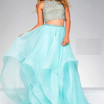 Blue Embellished Top Two Piece Jovani Ballgown 33220