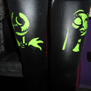 Nightmare Before Christmas Jack Skellington & Sally leggings