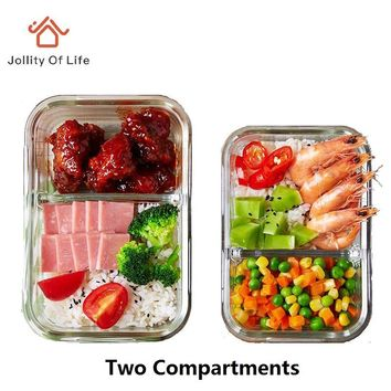 2 Divided Compartments Glass Lunch Box Dinnerware Set Microwave 400 Degree Resistance; 500ml lunchbox