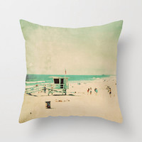 throw pillow cover, lifeguard station pillow, beach cottage decor, beach photo mint green blue, surfer California pillow, 16x18 18x18 pillow