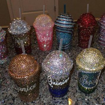 Custom Rhinestone Bling Cold Drink Dome or Flat Lid Tumblers 20oz