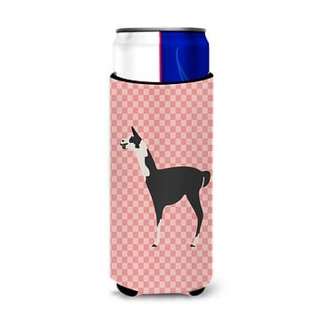 Llama Q' Ara Pink Check Michelob Ultra Hugger for slim cans