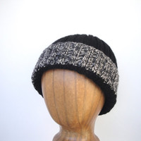Hand Knit Warm Wool Hat, Watch Cap, Black White Gray, Toque Beanie, Men Teen Boys, Stripe Brim