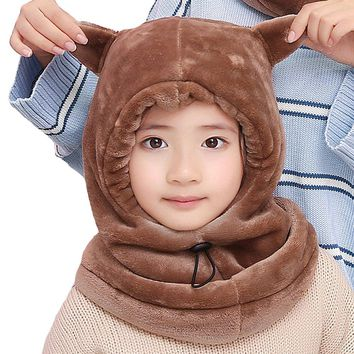 Rgslon Kids Double Layer Cosplay Winter Hats Earflap Hood Scarves Adjustable Face Cover Mask (Coffee Ear)