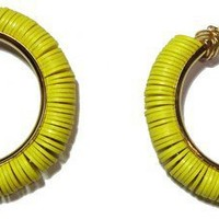 Tribal Chic earrings accentuated by Yellow antique Vinyl Disc Beads
