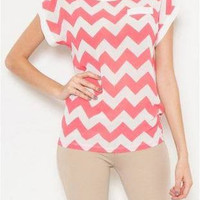 Coral Sheer Chevron Top