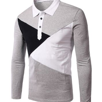 Casual Mens Patchwork Polo Collar T-Shirt