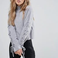 Whistles Lace Up Sleeve Jumper at asos.com