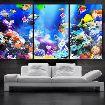 "LARGE 30""x 60"" 3 Panels Art Canvas Print beautiful Aquarium Fish Wall decorative home interior (Included framed 1.5"" depth)"